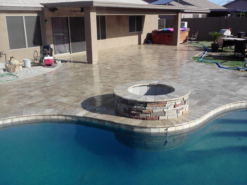 Travertine Patio Sealed In Mesa Arizona - Copy