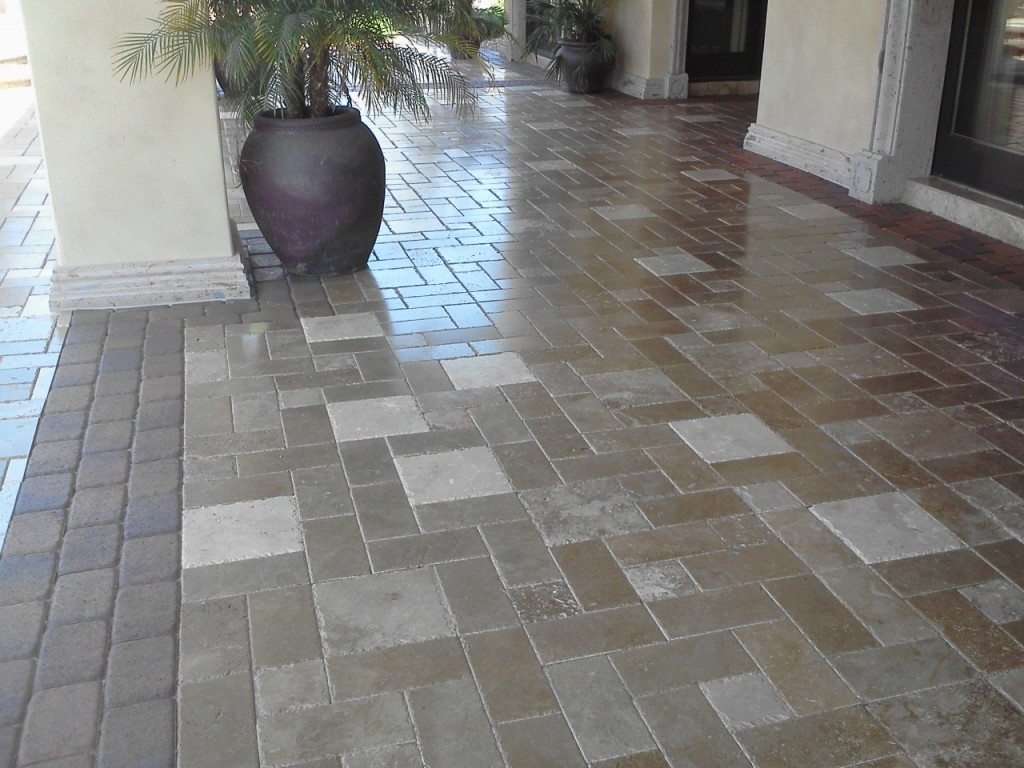Travertine Paver Patio Cleaned And Sealed   Copy